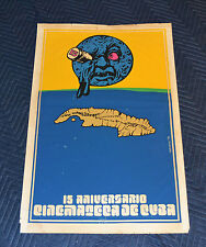 1975 Original Cuban Silkscreen Movie Poster.Cuba island.Cinemateca.Moon art film
