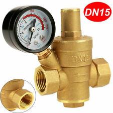 1/2 inch DN15 Brass Water Pressure Reducing Valve With Gauge Flow Adjustable New