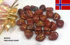 25pc Norse Ruby Jasper GEMSTONES Power Viking Rune Stones Set Runestones Chart