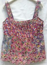 Marks & Spencer Per Una Sleeveless Floral Print Panel Cotton Top Shirt Size 10