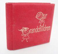 """Vintage Photo Brag Book Our Grandchildren Red Holds 24 Pictures Hallmark 3.5"""""""