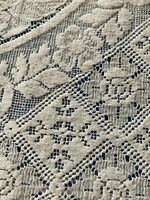92 x 86 Vintage Off White Lace Tablecloth, Knotted Cord Fringe, Exquisite Design