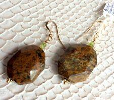 Peridot African Green Opal Earrings 14K Gold Filled Fall Autumn Thanksgiving
