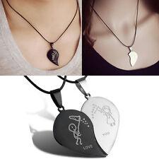 Couple Broken Heart Pendant Black Cord Engrave Love You Choker Necklace PD