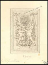 DISEGNO ORIGINALE A MATITA 1900 PUTTI FESTONE V.PAPINI