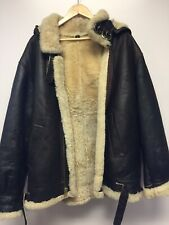 Vintage Hooded Brown Shearling Sheepskin Leather B3 Bomber Jacket XXL 2X USA