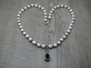"Stunning Sterling Silver Freshwater Pearl & Garnet Pendant 18-20 "" Necklace"