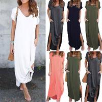 Womens Loose Summer Beach Gallus Short Sleeves Floor-Length Long Dress