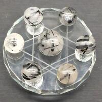 Polished Natural Black Tourmaline Quartz 7 Star Array Sphere Ball + Glass Stand