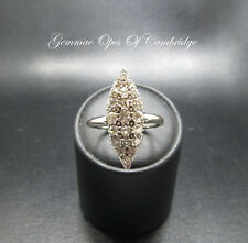 18K Vintage 18ct gold Diamond Navette Ring Size S 3.3g 1ct Diamonds