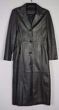 Winlit Long Black Womens Leather Coat Jacket Trench Sz Medium