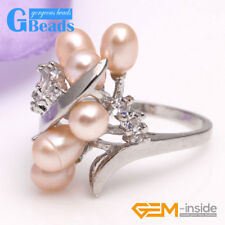 6-7mm Pearl Rhinstone White Gold Plated Ring US Size #6- #7 Free Shipping