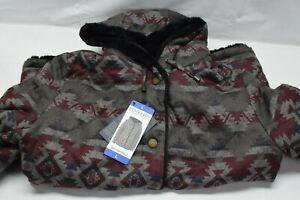 Pendleton Women's Reversible Faux Fur Printed Coat Jacket, Black, Large