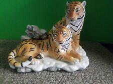 "Home Interior Homco Masterpiece ""Siberian Tigers"" Porcelain Endangered Species"