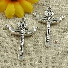 free ship 74 pcs tibetan silver Jesus cross charms 34x24mm #4615