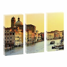 Venedig -3 Bilder auf Leinwand Kunstdruck Poster XXL 3-Teiler-je 40 cm*80 cm 071