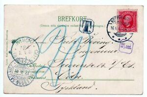 SWEDEN: Postcard shipmail to Germany 1901, postage due.