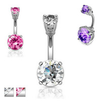 DOUBLE CZ 4-PRONG SET GEM BELLY BUTTON NAVEL RING BODY PIERCING JEWELRY BARBELL