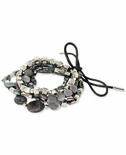 Kenneth Cole NY Silver LUNAR ECLIPSE Black Lip MOP Shell Stretch Bracelet $55