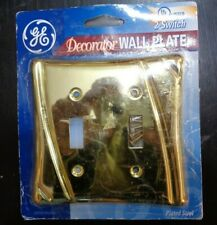 GE Decorator 2-switch wall plate Brass (plated Steel)