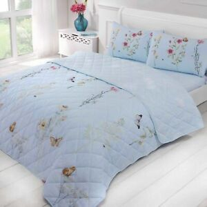 """Rapport """"Laura"""" Floral Butterfly Reversible BEDSPREAD / THROW Blue / Duck Egg"""