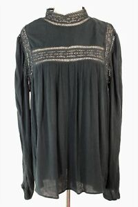 Decjuba black long sleeve high neck blouse with lace inserts - 10/12