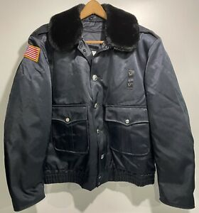 Vintage Blauer Mens Bomber Jacket Fur Collar Zipper Quilted Police Navy Size 44R