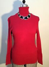 Capture Size AU 12 Women's Hot Red Cotton, Nylon & Elastane Turtleneck Jumper
