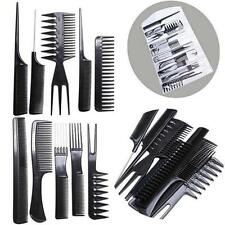 Woman Flash Girl - 10pcs Plastic Hair Dust Brush Pro Salon Hairstyling Barbers Combs Set - Black