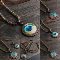 Long Handmade Wood Beads Peacock Feather Pendant Sweater Chain Necklace Women