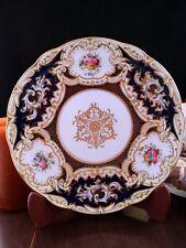 """Coalport Antique Dinner Plate 1891-1920 Cobalt Blue 9"""" 7330A Handpainted Flowers"""
