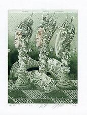 Chess Game, Surrealistic Ex libris Bookplate Etching by J. Jakovenko, Belarus