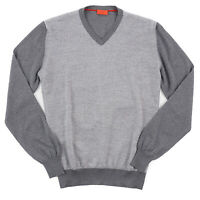 Isaia Gray Patterned Fine-Gauge Lightweight Wool-Cashmere Sweater M NWT $875