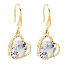 18 k Gold Plated Luxury Yellow Gold White Zircon Heart Drop Dangle Earrings E787