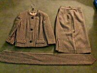 Peck & Peck Vintage Women's Houndstooth 100% New Wool Jacket Skirt Suit Size 12