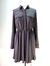 69ed2cf0215 MAEVE Anthropologie Small Gray Shirt Dress Rayon Roll Sleeves Blouson  Pockets