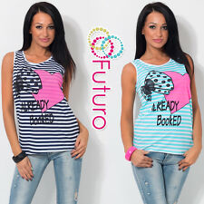 Ladies Sexy Vest Top BOOKED Print Sleeveless 100% Cotton T-Shirt Sizes 8-14 FB49
