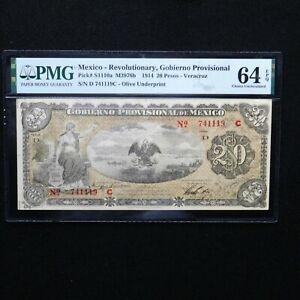 1914 Mexico - Revolutionary 20 Peso, Pick # S111a  M3976a, PMG 64 EPQ Choice Unc