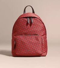 NWT Authentic Burberry Abbeydale Tie Print Jacquard Backpack Military Red