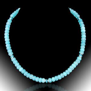 BAILYSBEADS designer Aquamarin Collier Necklace Halskette Rondlle P9dew
