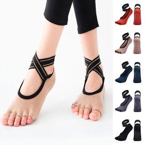 Yoga Socks Anti-slip Five Finger Backless Cross Bandage Silicone Non-slip Toe*wk