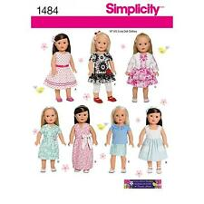 SIMPLICITY SEWING PATTERN 18 INCH (45.5CM) DOLL CLOTHES DRESS TOP POCKET 1484 A