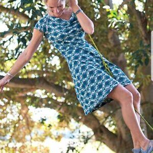 Title Nine Printed Majestic Athletic Dress Blue Medium