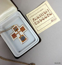 Cloisonne Universal Cross Enamel Pendant Necklace 18in Boxed Cert Talisman RI US