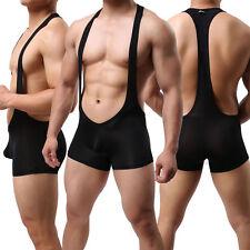 Mens Smooth Sexy Jockstrap Stretch Freestyle Wrestling Singlet Backless Bodysuit