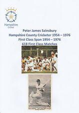 PETER SAINSBURY HAMPSHIRE CRICKETER 1954-1976 RARE ORIGINAL SIGNED MAG CUTTING