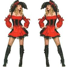 Sexy Adult Red Vixen Pirate Wench Queen Halloween Costume Fancy Dress S/P S/XS