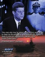 JFK John F Kennedy NAVY RECRUITING  Professional Studio Printed Photo 11x14