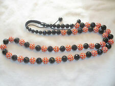 Orange Colour Shamballa Necklace with Black Crystal  Beads - New