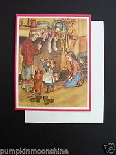 #E815- Vintage Unused Tasha Tudor Xmas Greeting Card Kids & Corgi Dogs at Home